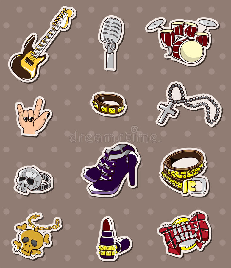 Etiquetas da faixa da música rock ilustração stock