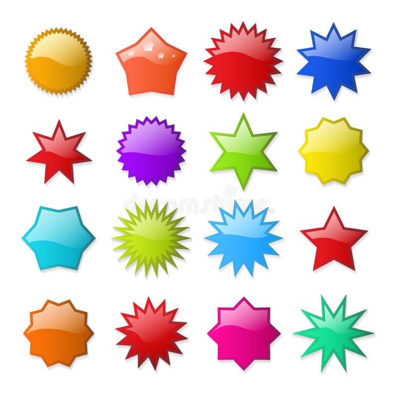 Etiquetas da forma de Starburst ilustração royalty free