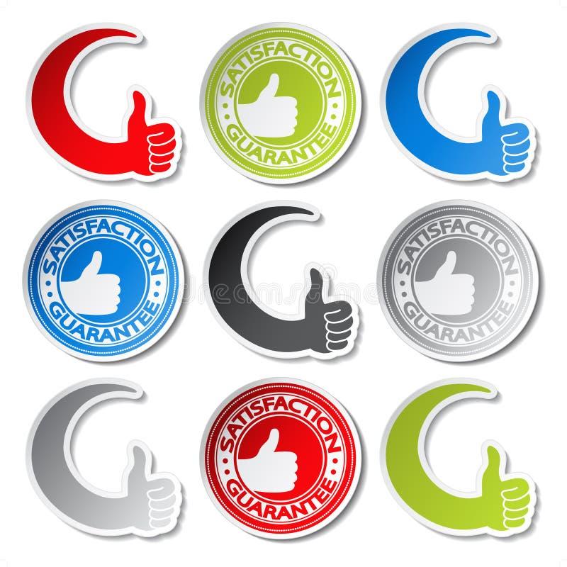 Etiquetas da garantia da satisfação - mão do gesto ilustração stock