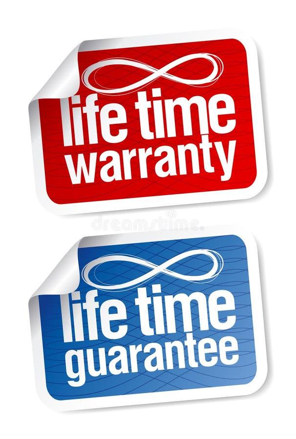 Etiquetas da garantia do tempo da vida ilustração do vetor