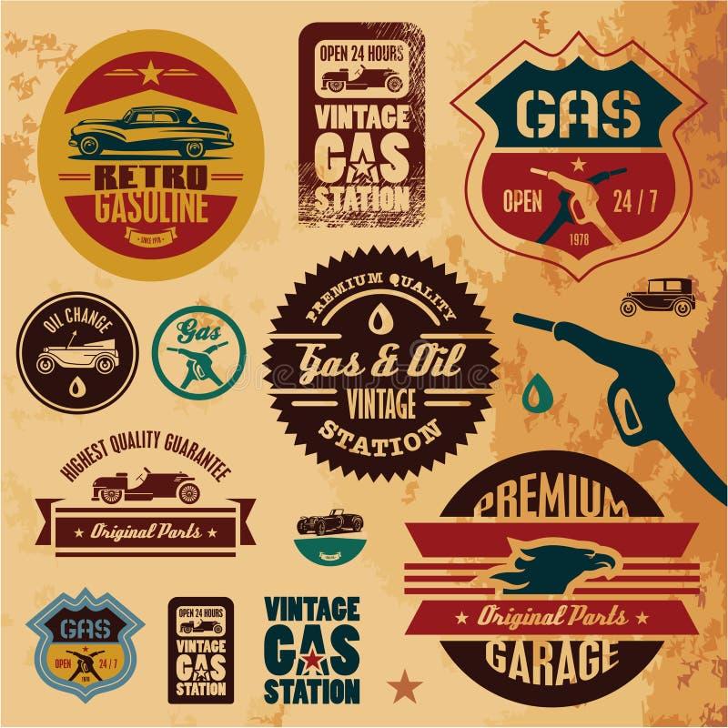 Etiquetas da gasolina do vintage ilustração do vetor
