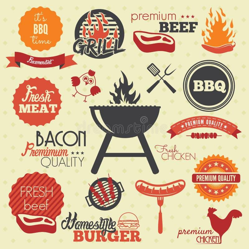 Etiquetas da grade do BBQ do vintage ilustração royalty free