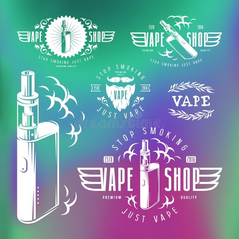 Etiquetas da loja da barra e do vape do vapor ilustração stock