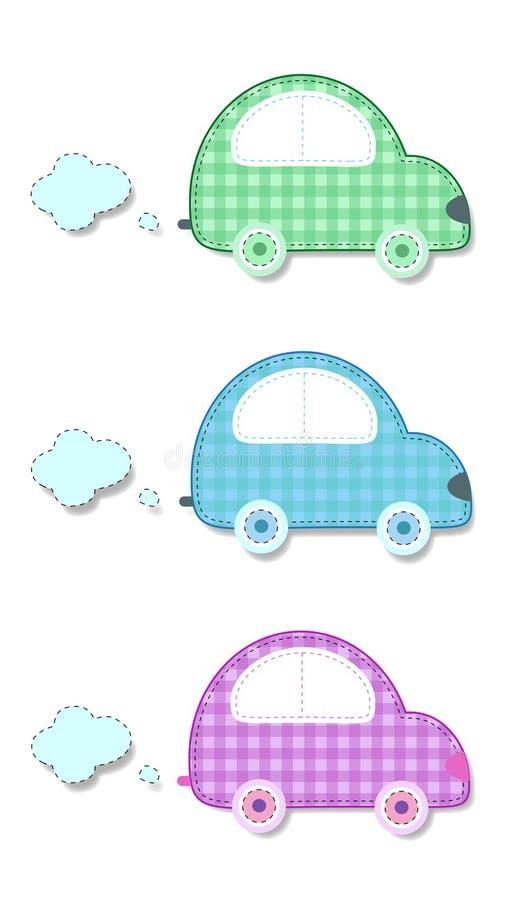Etiquetas da manta da tela ou do papel de carros verdes, azuis e cor-de-rosa ilustração stock