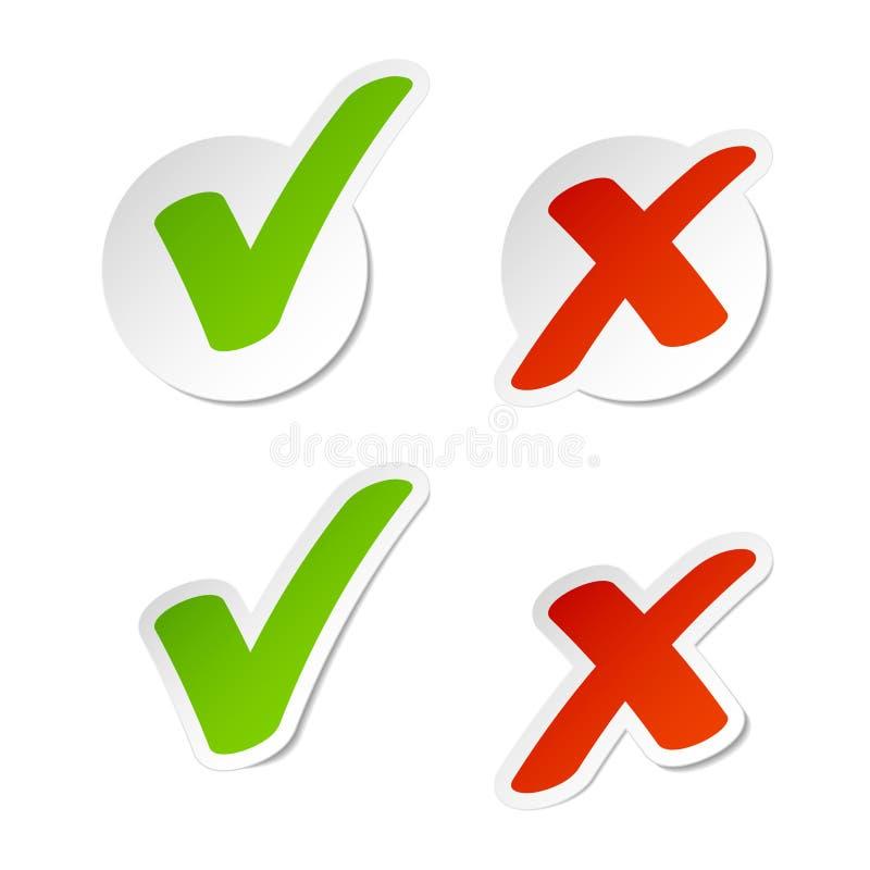 Etiquetas da marca de verificação ilustração do vetor