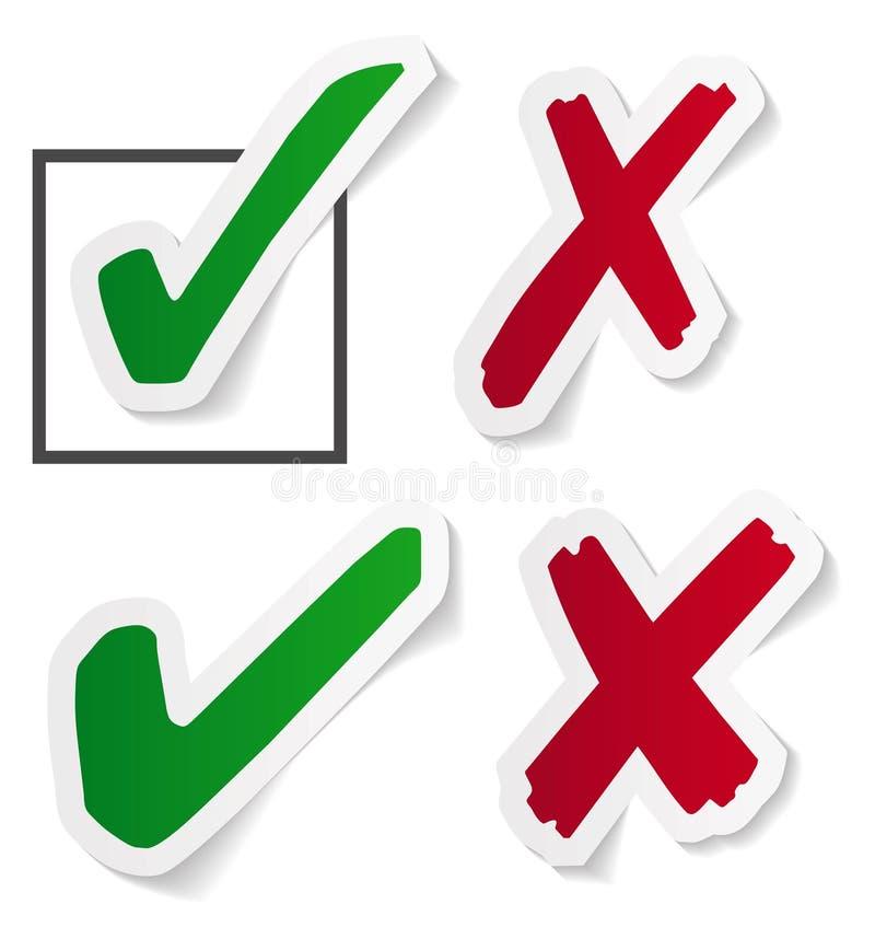 Etiquetas da marca de verificação ilustração royalty free
