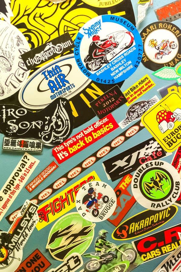 Etiquetas da motocicleta imagem de stock