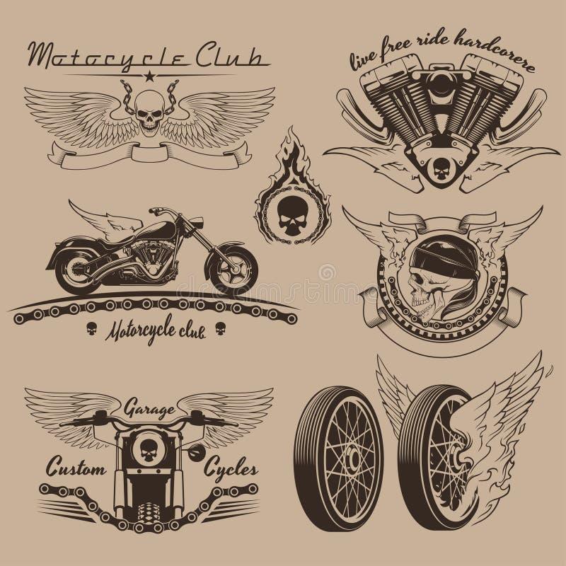 Etiquetas da motocicleta do vintage ilustração royalty free
