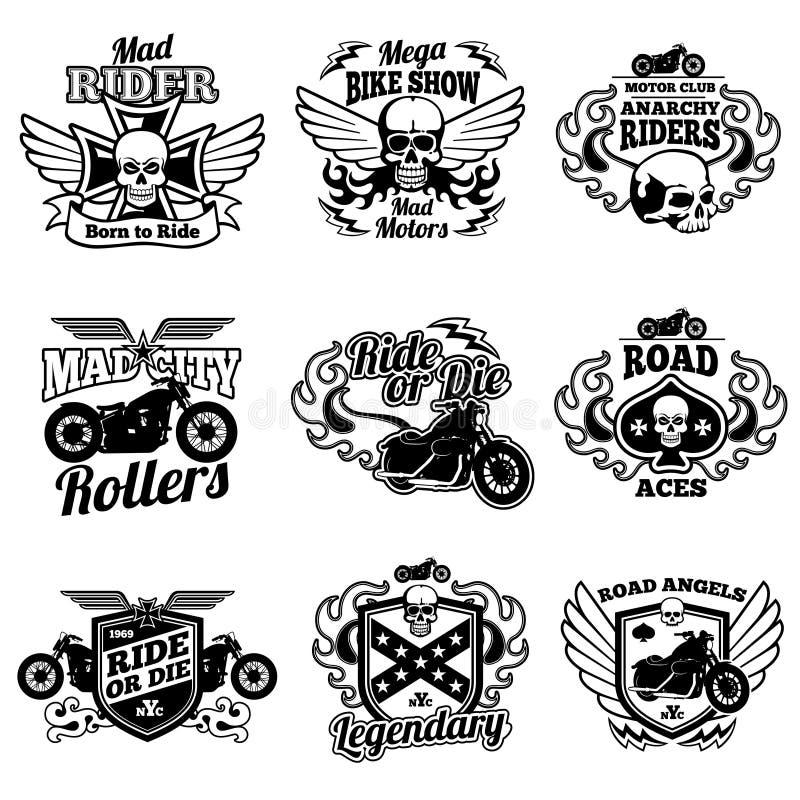 Etiquetas da motocicleta do vintage Crachás retros e logotipos do vetor do velomotor ilustração royalty free