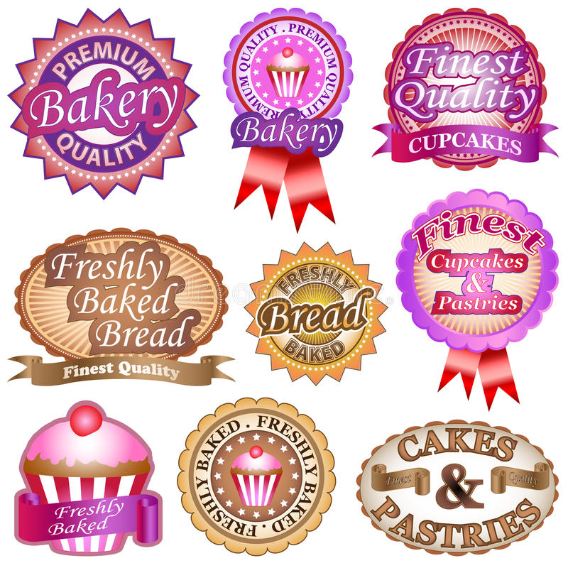 Etiquetas da padaria ilustração stock