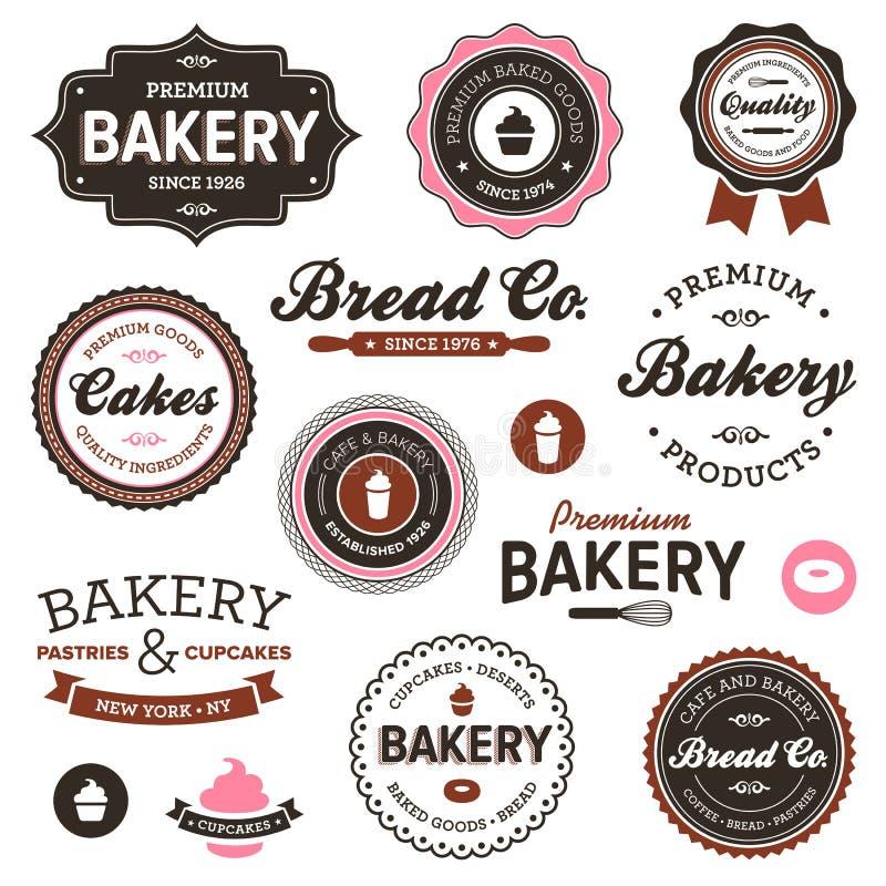 Etiquetas da padaria do vintage ilustração do vetor