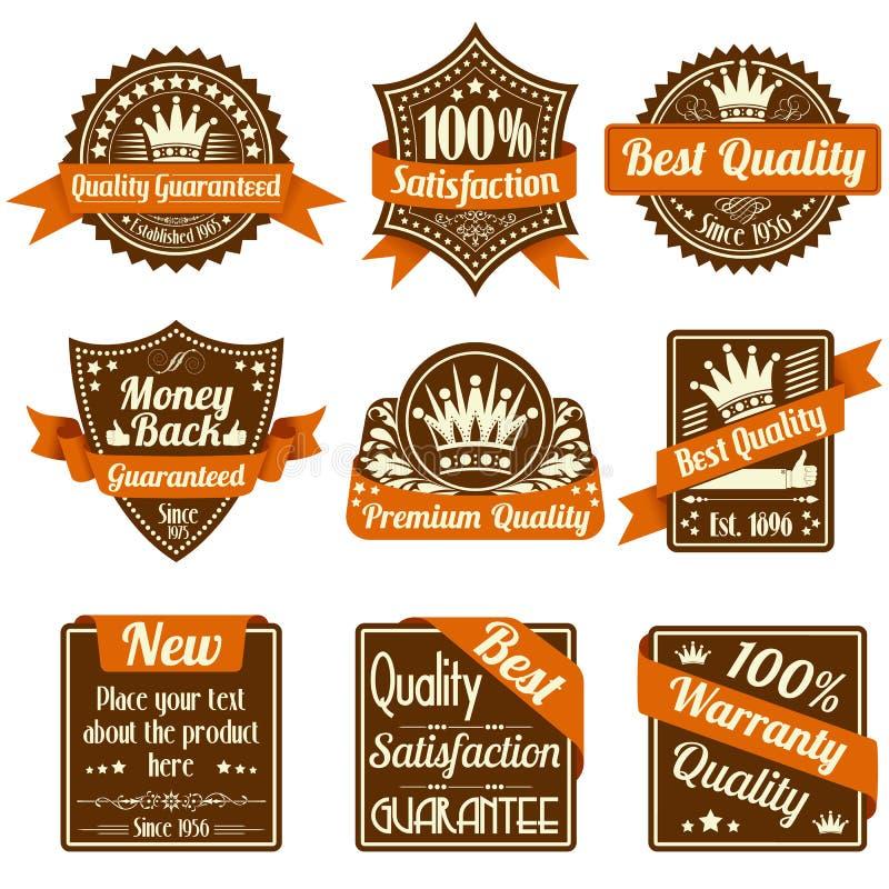 Etiquetas da qualidade e da garantia ilustração royalty free