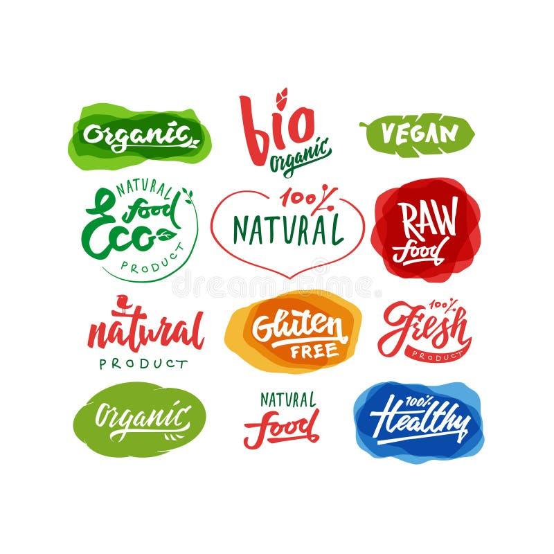 Etiquetas da rotulação do alimento com vegetariano e projetos crus da dieta de alimento ilustração stock