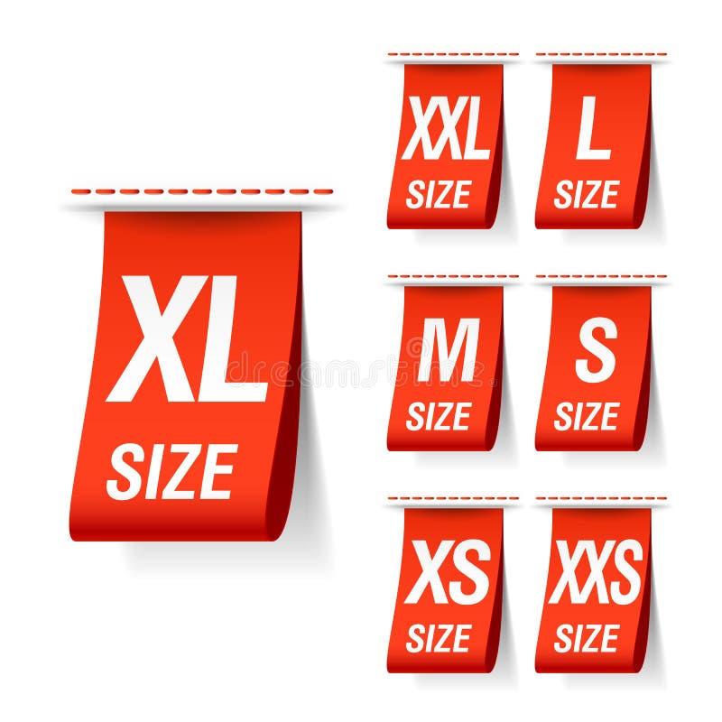 Etiquetas da roupa do tamanho ilustração stock