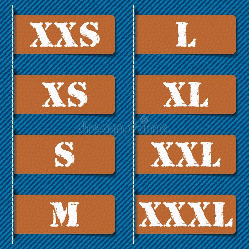 Etiquetas da roupa do tamanho - ilustração do vetor