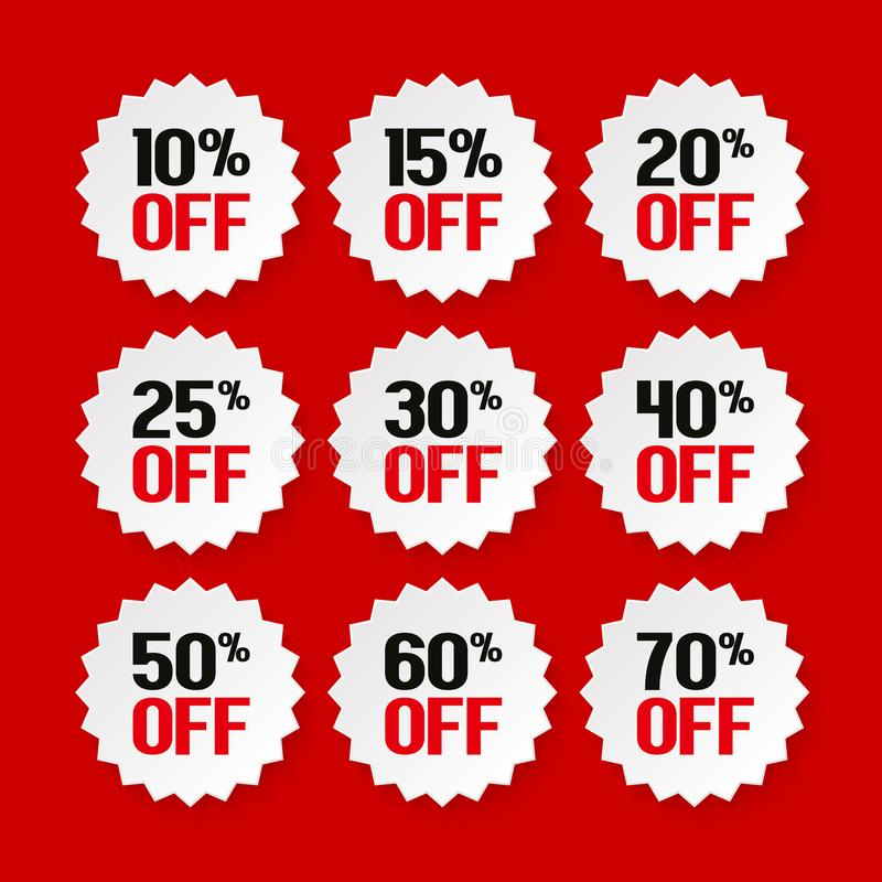 Etiquetas da venda de 10 a 70 por cento Promoção do produto Vetor ilustração stock
