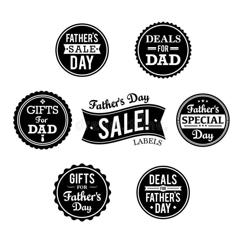 Etiquetas da venda do dia de pai ilustração royalty free