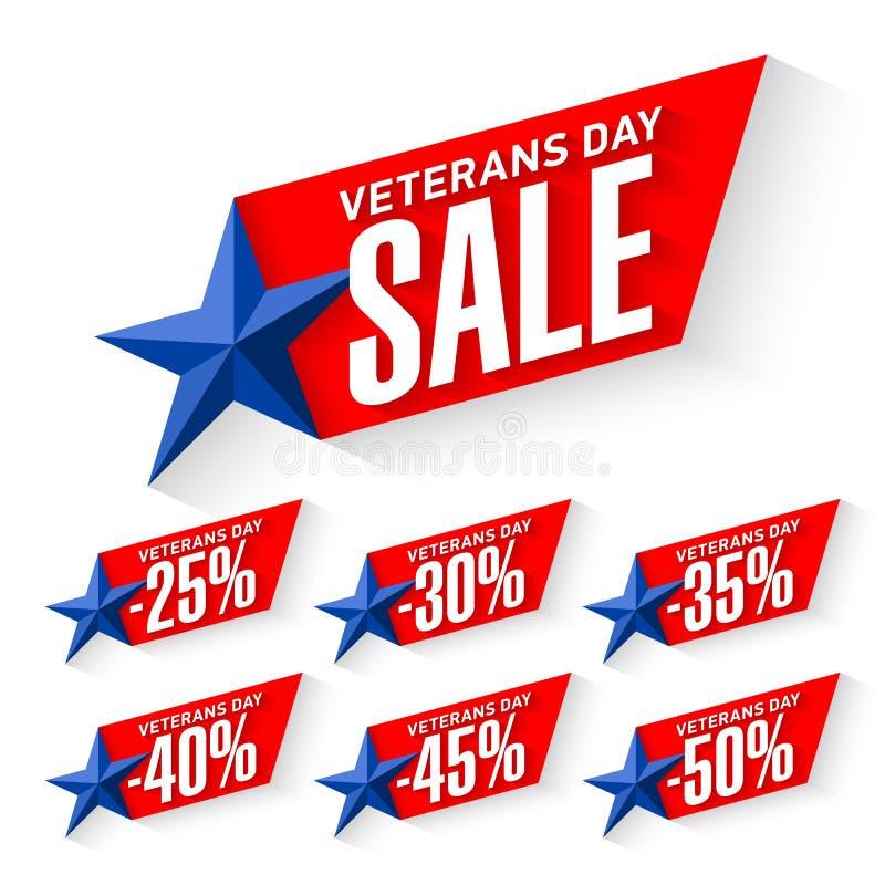 Etiquetas da venda do dia de veteranos ilustração stock