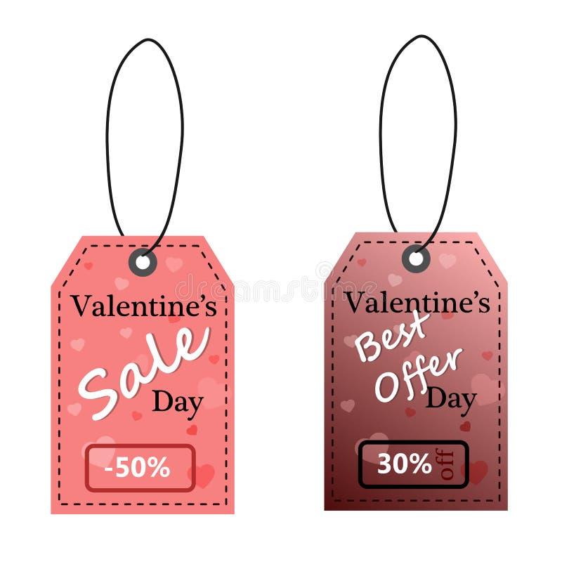 Etiquetas da venda do dia do ` s do Valentim ilustração do vetor