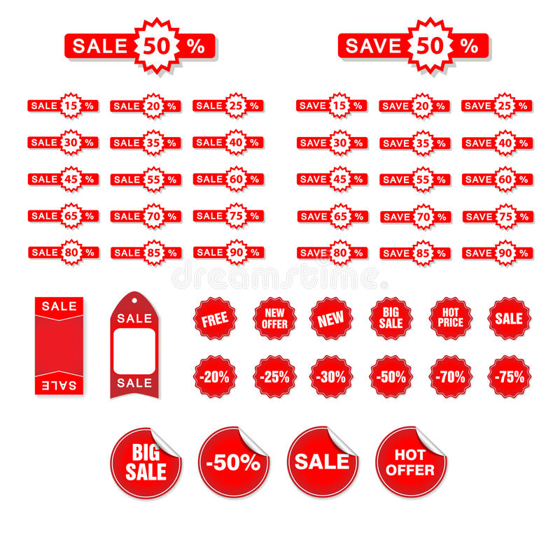 Etiquetas da venda do vetor ilustração stock