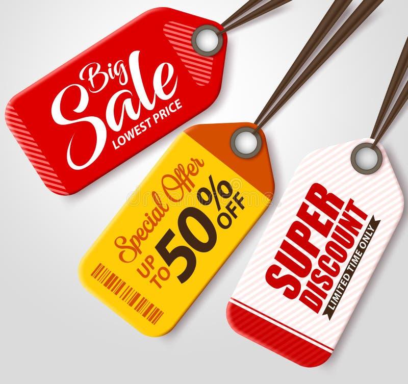 Etiquetas da venda do vetor ajustadas com as cores diferentes que penduram no fundo branco ilustração royalty free