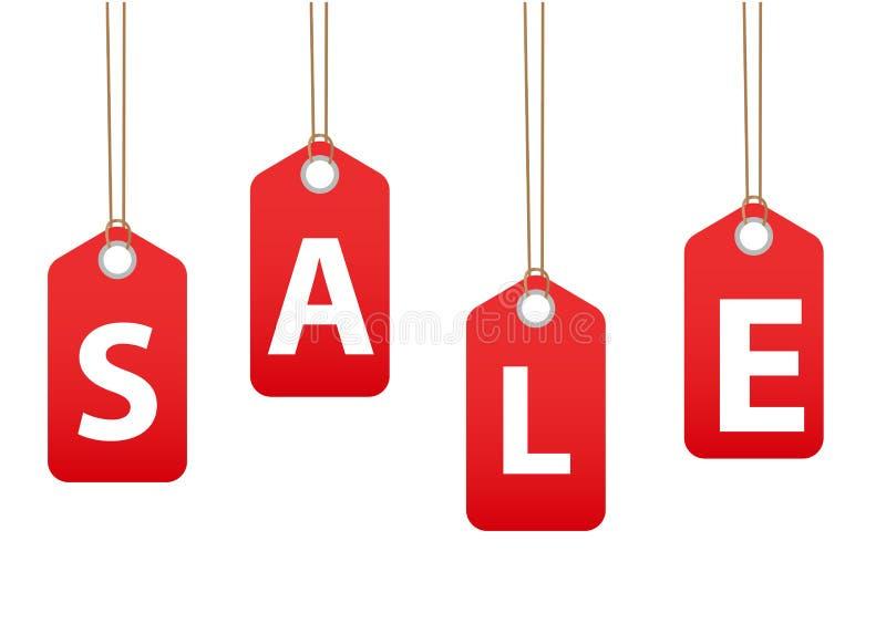 Etiquetas da venda O vermelho etiqueta discontos, ilustração do vetor ilustração stock