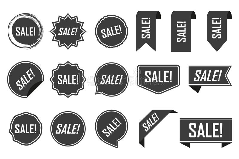 Etiquetas da venda, preto isoladas no fundo branco Ilustração do vetor ilustração royalty free