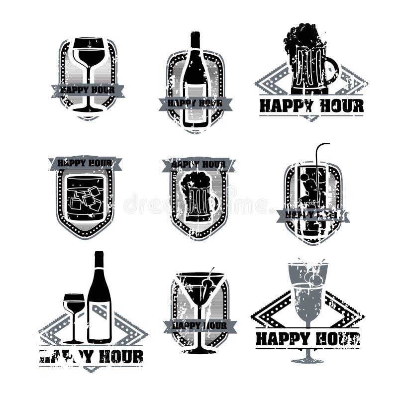 Etiquetas das bebidas ilustração stock