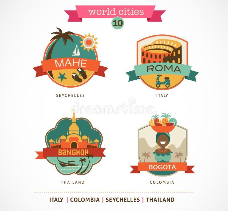 Etiquetas das cidades do mundo - Mahe, Roma, Banguecoque, Bogotá ilustração do vetor