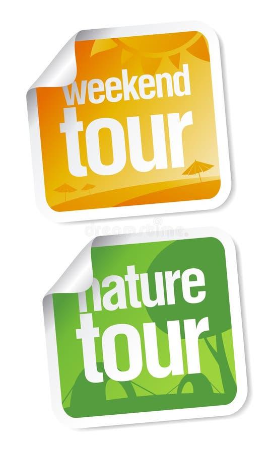 Etiquetas das excursões de fim de semana ilustração do vetor