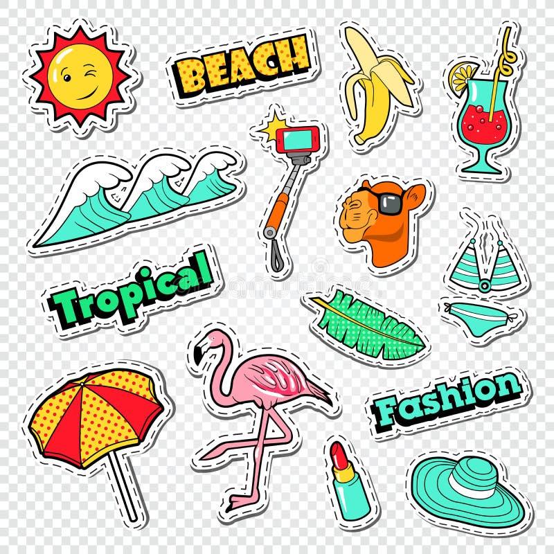 Etiquetas das férias da praia ajustadas Garatuja tropical dos feriados com flamingo, biquini e cocktail ilustração do vetor