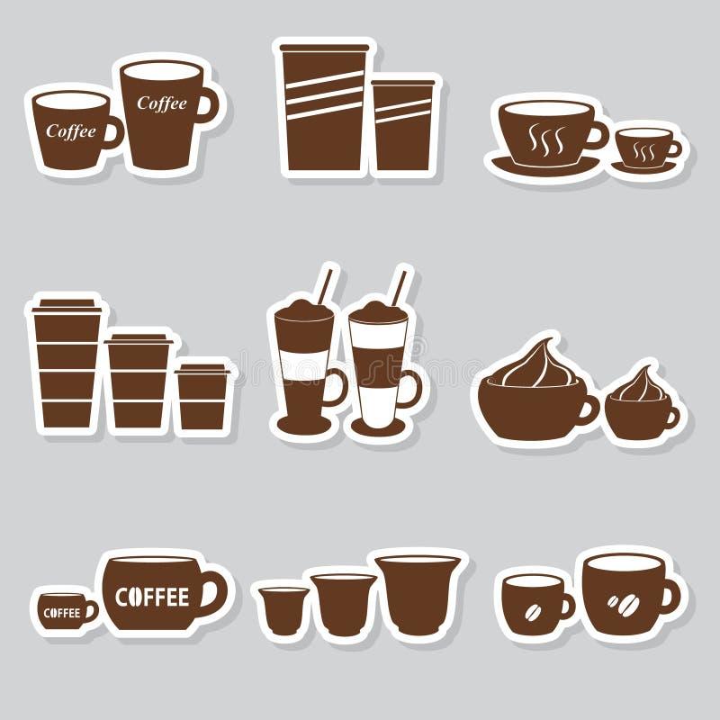 Etiquetas das variações dos tamanhos dos copos e das canecas de café ajustadas ilustração do vetor