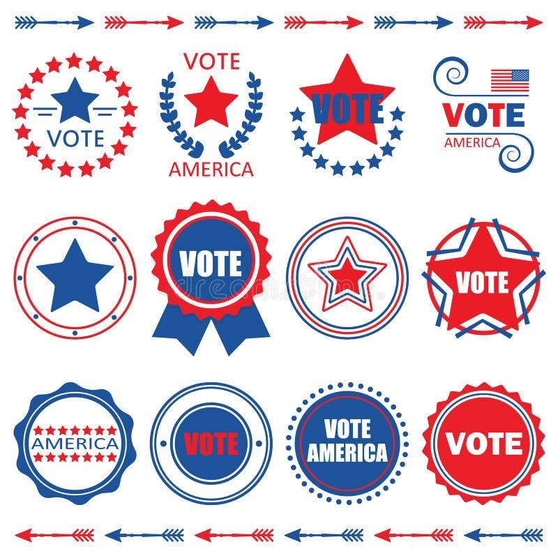 Etiquetas de América del voto y sistema de elementos rojos y azules del diseño stock de ilustración