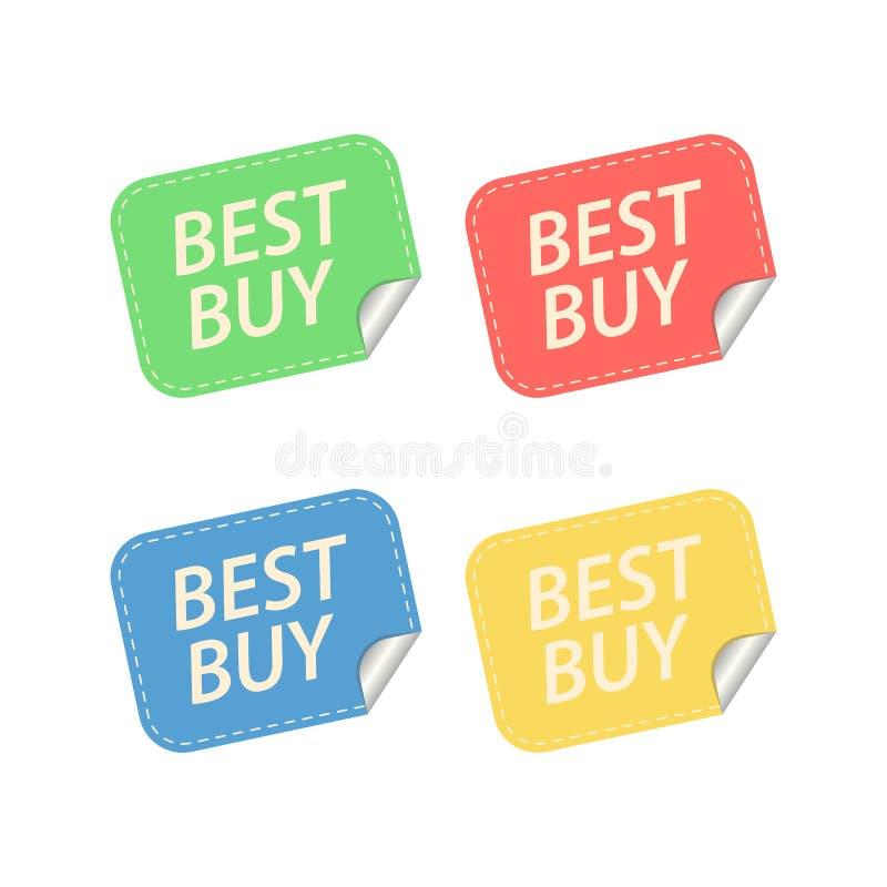 Etiquetas de Best Buy Isolado no branco ilustração royalty free