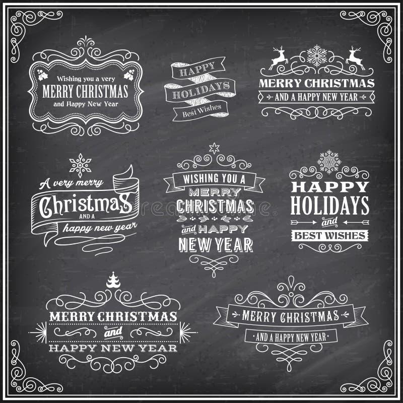 Etiquetas de Chalboard de la Navidad del vector ilustración del vector