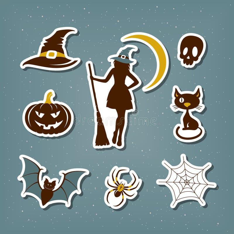 Etiquetas de Dia das Bruxas ilustração stock