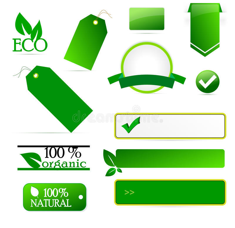 Etiquetas de Eco ilustração royalty free