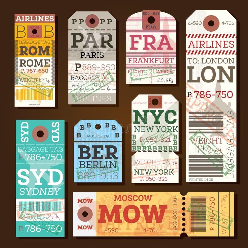 Etiquetas de equipaje retras stock de ilustración