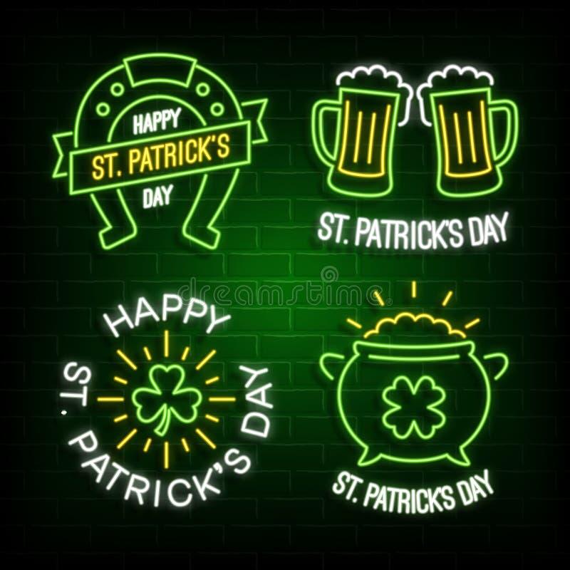 Etiquetas de incandescência de néon do dia de St Patrick ilustração stock