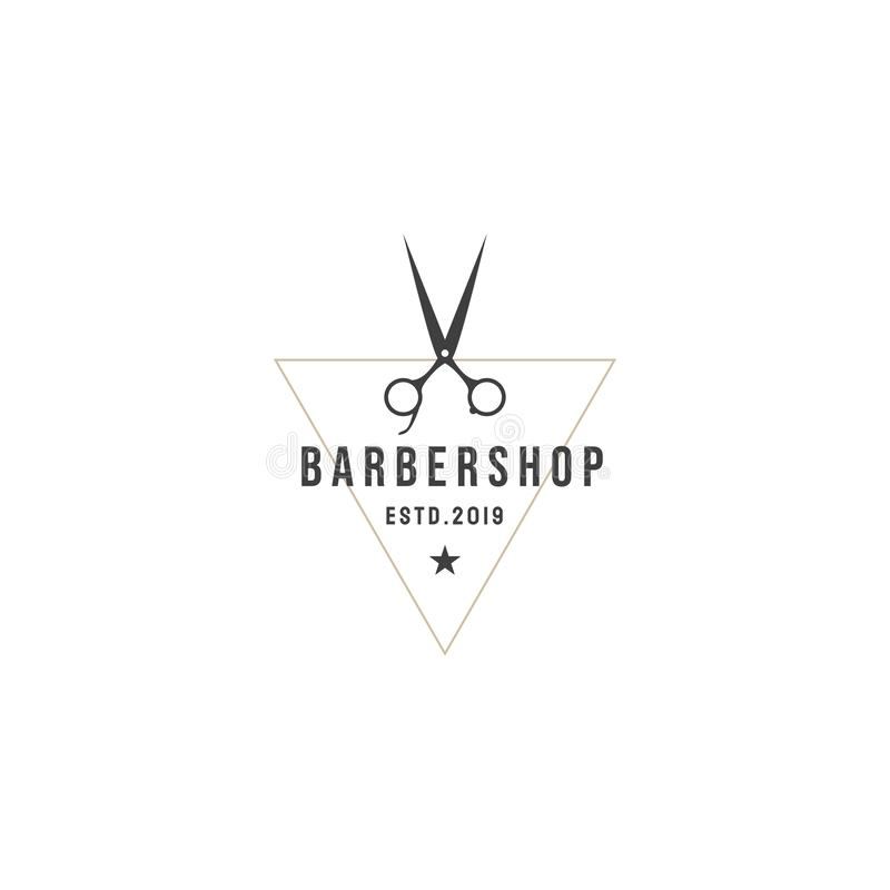 Etiquetas de la barbería del vintage Plantillas para el diseño de logotipos y de emblemas ilustración del vector
