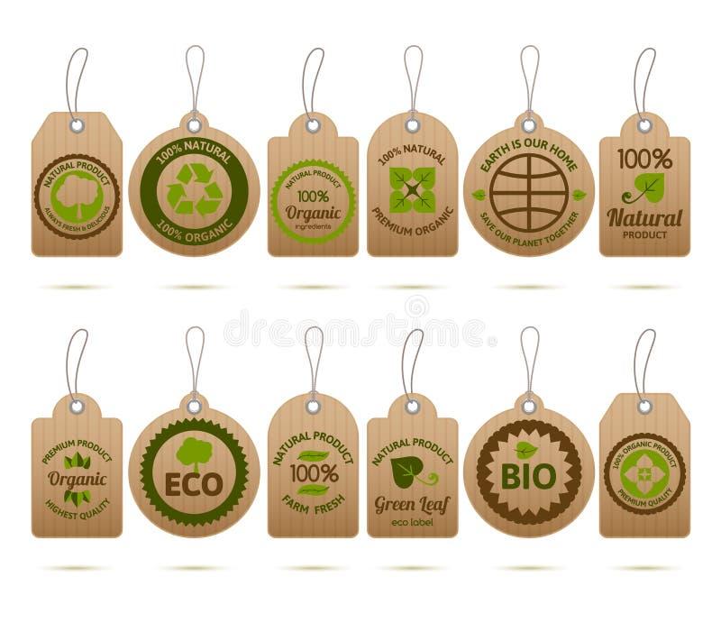 Etiquetas de la cartulina de la ecología libre illustration