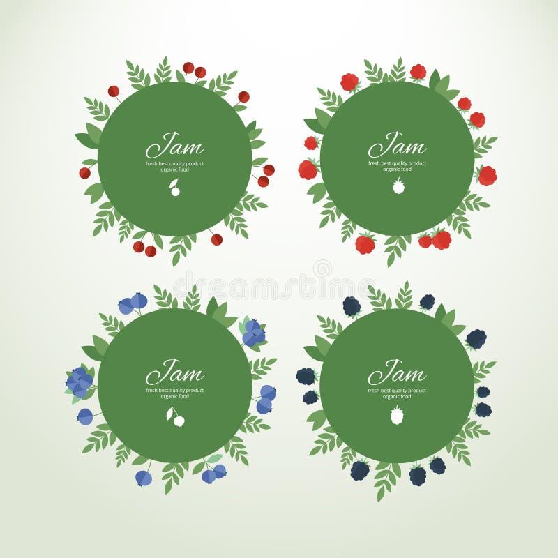 Etiquetas de la colección con las bayas frescas ilustración del vector
