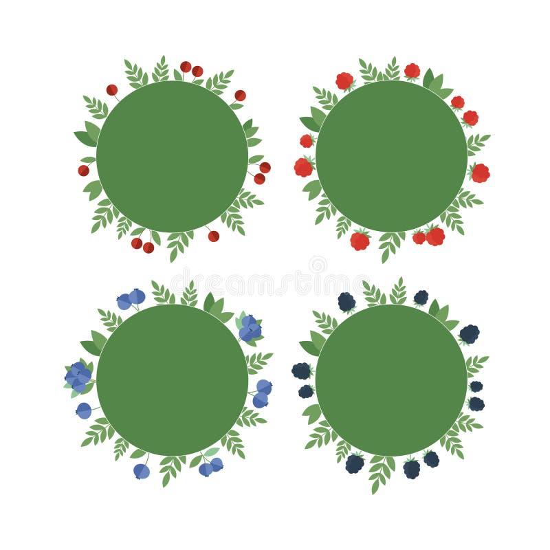Etiquetas de la colección con las bayas frescas stock de ilustración