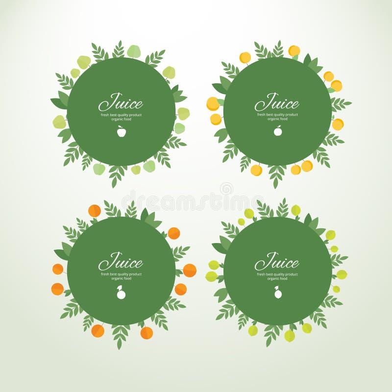Etiquetas de la colección con las frutas frescas libre illustration