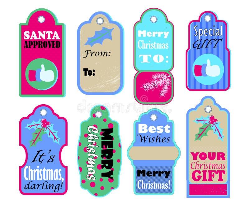 Etiquetas de la Feliz Navidad y de recuerdos para el actual embalaje libre illustration