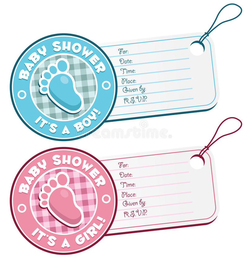 Etiquetas de la invitación de la ducha de bebé ilustración del vector