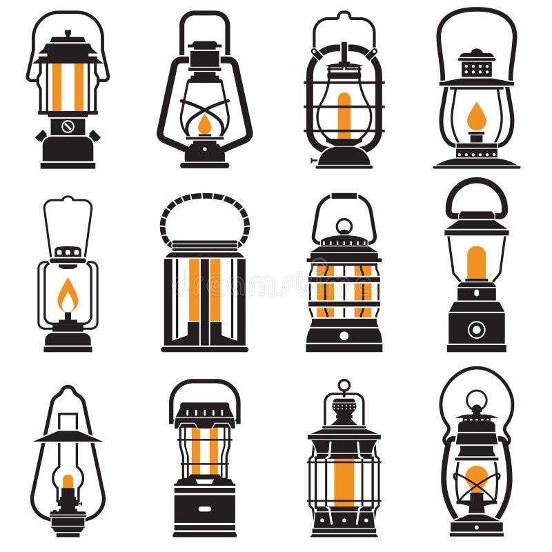 Etiquetas de la linterna del vintage que acampan stock de ilustración