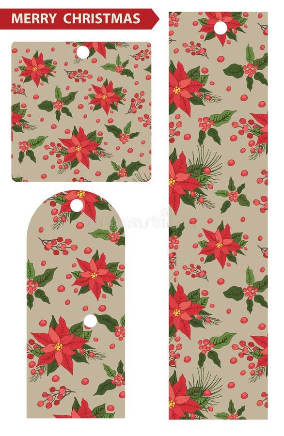 Etiquetas de la Navidad con el fondo rojo de la poinsetia stock de ilustración