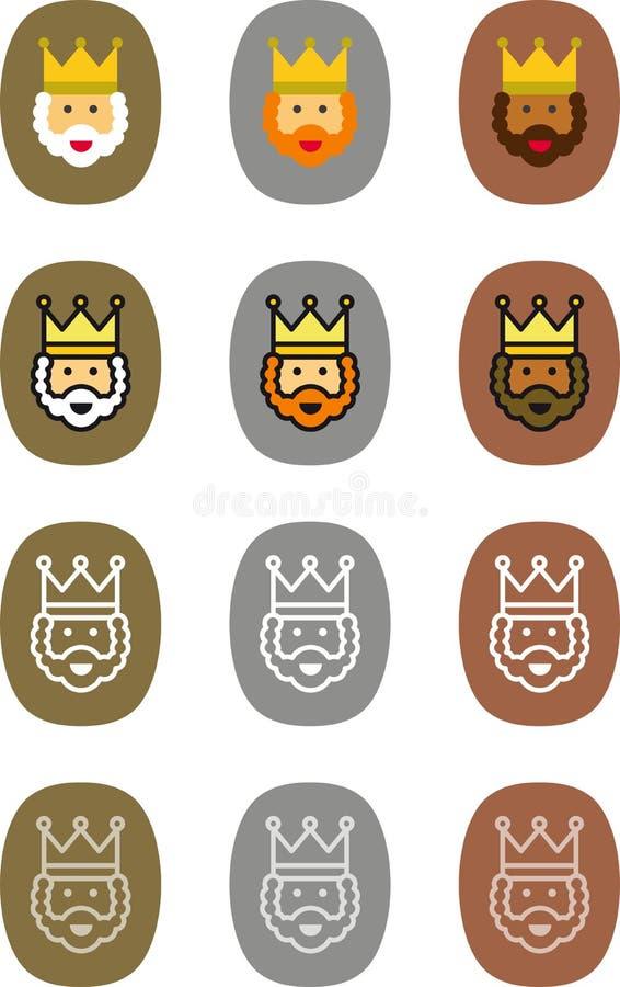 Etiquetas de la Navidad de unos de los reyes magos ilustración del vector