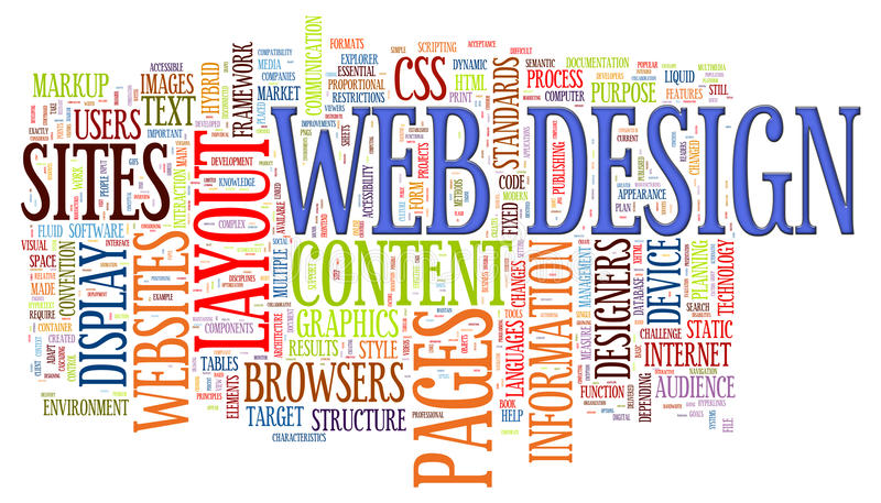 Etiquetas de la palabra del diseño de Web stock de ilustración